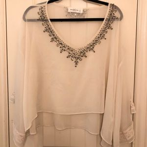 Abercrombie and fitch sheer embellished top